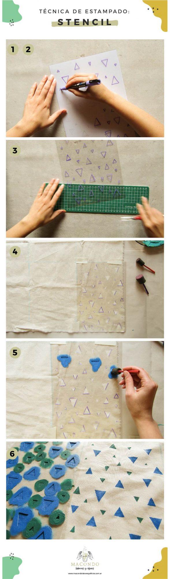 Estampado de telas de algodón con stencil (paso a paso)