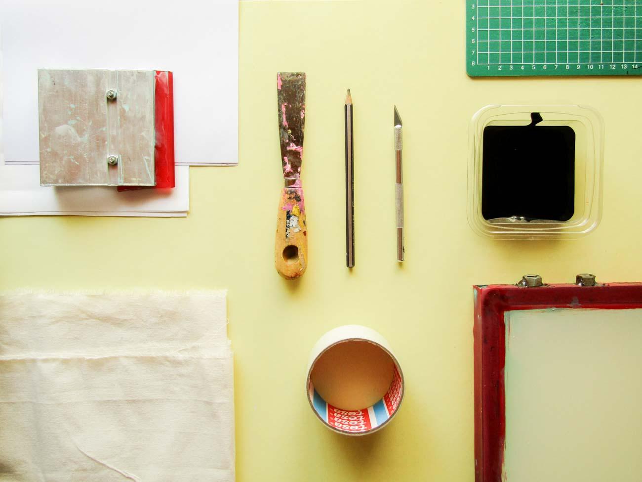 Elementos y materiales para estampar con serigrafía
