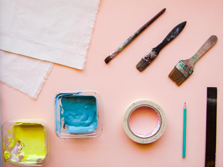 Como estampar rayas sobre tela - Materiales