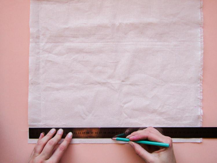 Como estampar rayas sobre tela - Paso 1