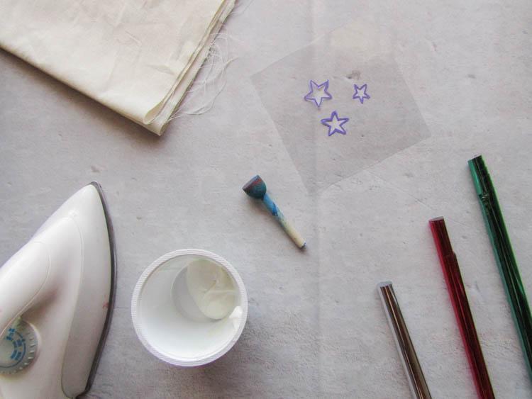 Elementos para DIY estrellas plateadas