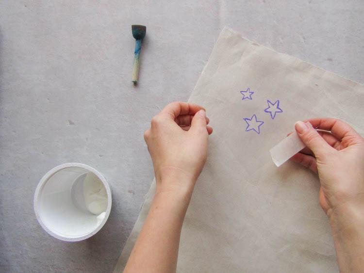DIY estrellas plateadas paso 1