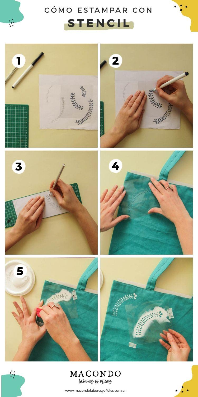 Cómo estampar tela con stencil - Paso a paso